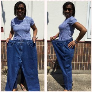 CC showing oversized jeans, too big for her new healthy life