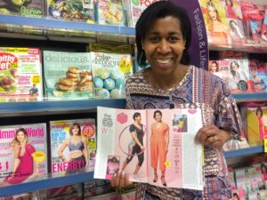 CC showing her Weight Watchers Magazine article